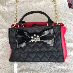 BETSEY JOHNSON Red and Black Bag